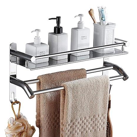 Estantes de baño sin perforación, estante de ducha de acero inoxidable Carrito de almacenaje adhesivo Cesta Organizador de ducha montado en la pared ...