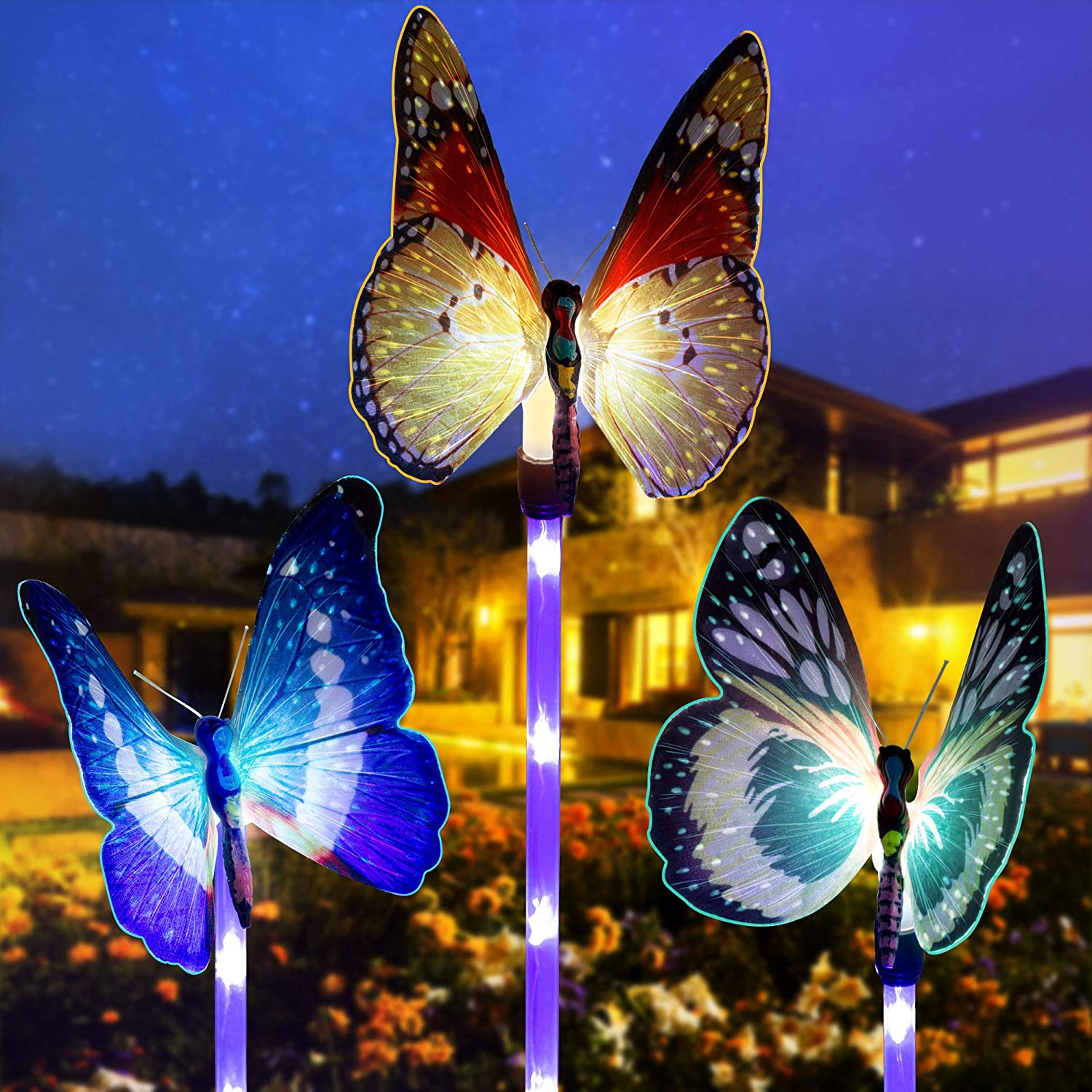 GIGALUMI Garden Solar Lights Outdoor,3 Pack Solar Butterfly Lights,Solar Stake Lights Multi-Color Changing LED Garden Lights,Butterfly Decorative Lights with a Purple LED Lights Stake.
