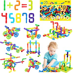 STEM Pipe Tube Building Blocks Set Toy for 3 4 5 6 7 Age Girls Boys Creative Tube Locks Construction Set Toy with Wheels Base-Plate Kids Educational Preschool Learning Toys 175 Pieces
