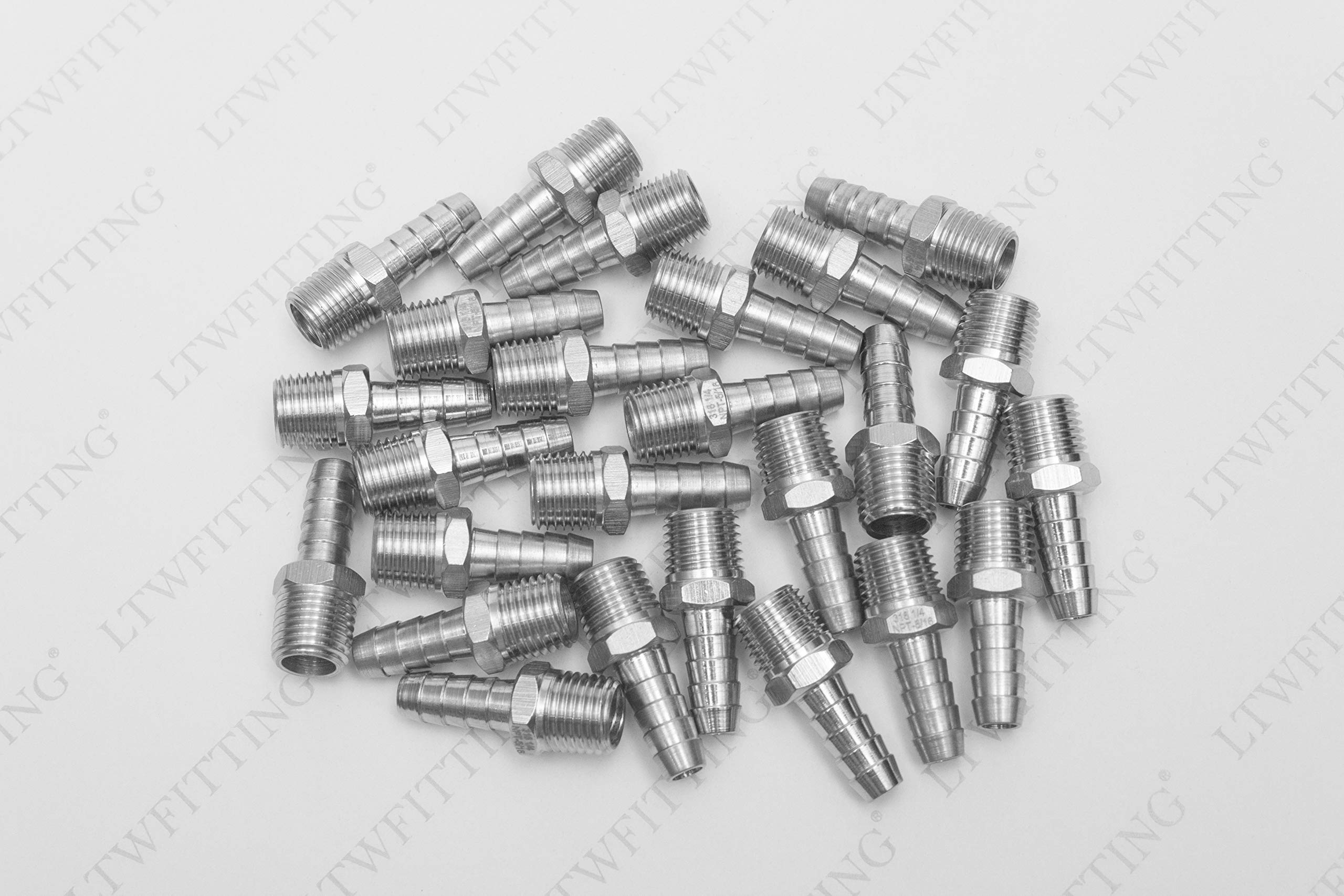 LTWFITTING Bar Production Stainless Steel 316 Barb Fitting Coupler/Connector 5/16'' Hose ID x 1/4'' Male NPT Air Fuel Water (Pack of 25) by LTWFITTING (Image #2)