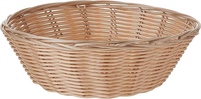 Update International Round Woven Bread Roll Baskets, Food Serving Baskets, Polypropylene Material BB-8R, Set of 12, Beige