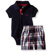 Nautica Baby Short Sleeve Polo Core Bodysuit Set, Sport Navy, 6-9 Months