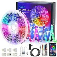 Tiras LED, TVLIVE Bluetooth Luces LED Habitación 5M 5050 RGB con Control Remoto y Controlador, Sincronización Musical…