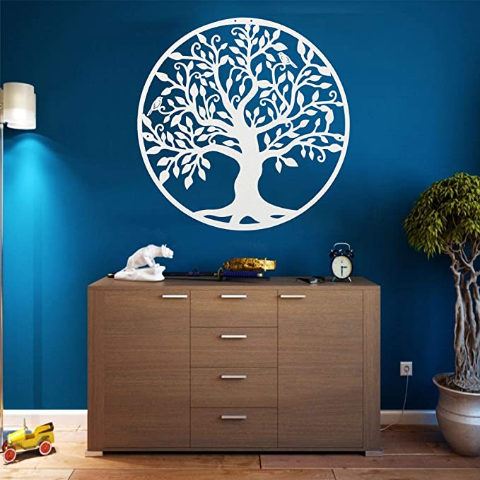 DEKADRON Arte de Pared de Metal Árbol de la Vida Arte de Pared Signo de árbol genealógico de Metal Blanco (44 x 46 cm)