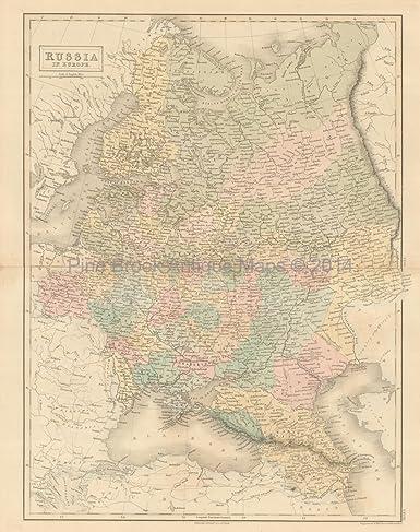 Russia Europe Antique Map Original Russian Decor History ...