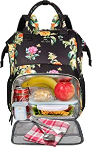 Womens Lunch Bag, Insulated Lunch Box Cooler Laptop Backpack with USB Port for Women Girls, Water Resistant Leak-proof College School Bookbag for Work Picnic Hiking Trip Beach Fits 15.6 Inch Computer