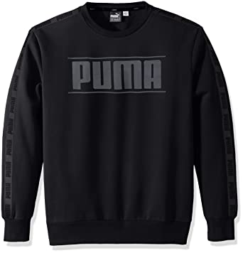 PUMA Men's Rebel Tape Crewneck Fleece Sweatshirt, Black, ...