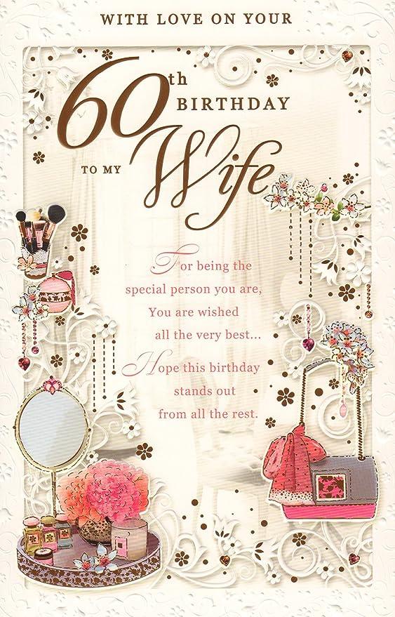 Esposa 60th Tarjeta de cumpleaños - con amor en tu 60th ...