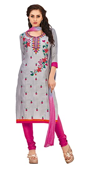 ab12a36f10db Oomph! Cotton Embroidered Salwar Suit Dupatta Dress Material - Fossil Grey  (Women): Amazon.in: Clothing & Accessories