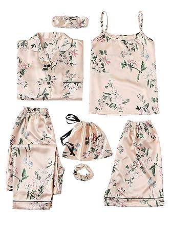 SHEIN Women s 7pcs Pajama Set Cami Pjs with Shirt and Eye Mask Medium  Apricot f666a66ad