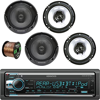 Kenwood Stereo Receiver With Bluetooth W//Kenwood 3-way Car Speaker /& Wire
