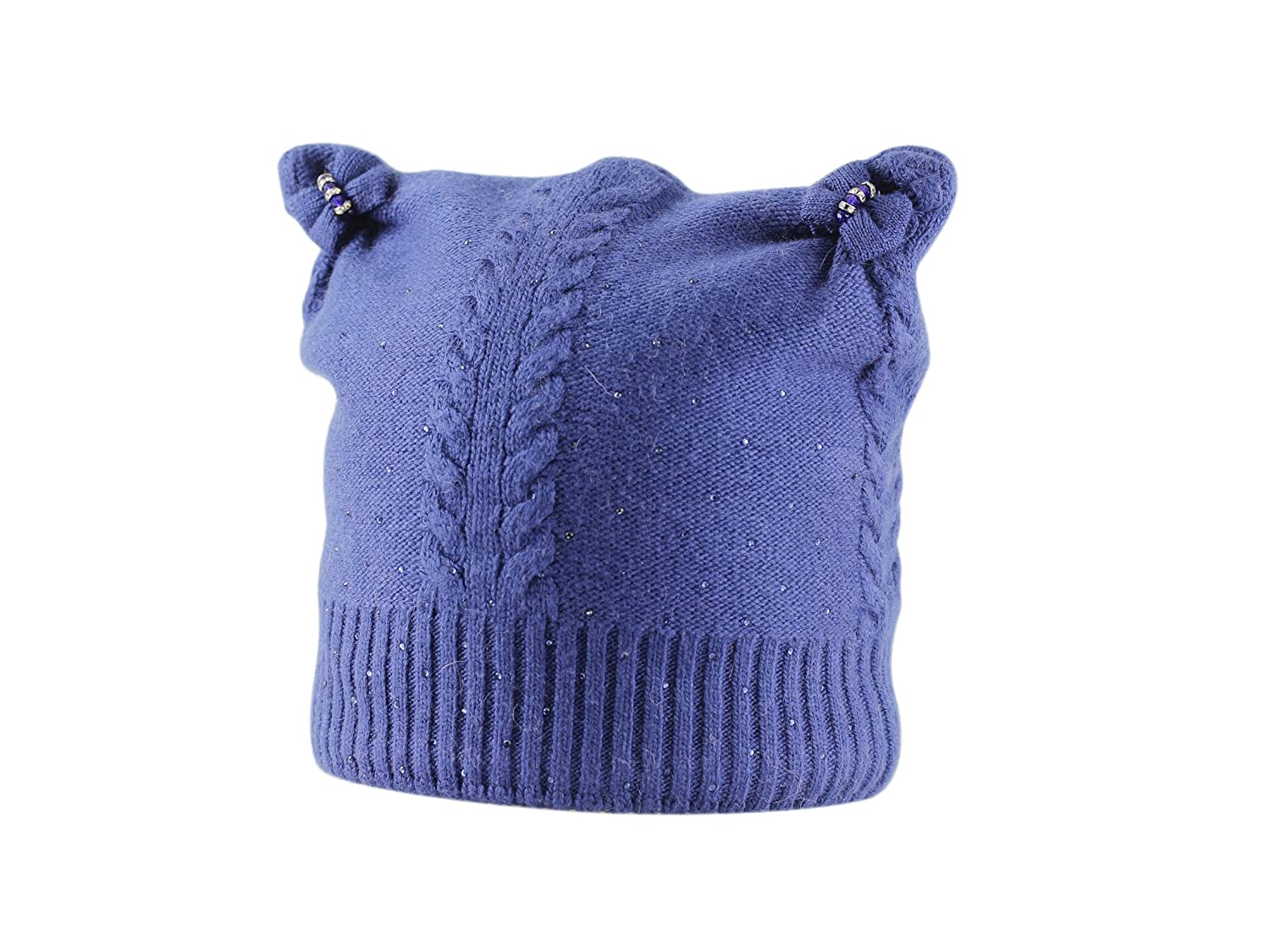 LA-EL COUTURE Kids Wool/&Angora with Rhinestones and Pigtails Warm Beanie 3-5 y.o.