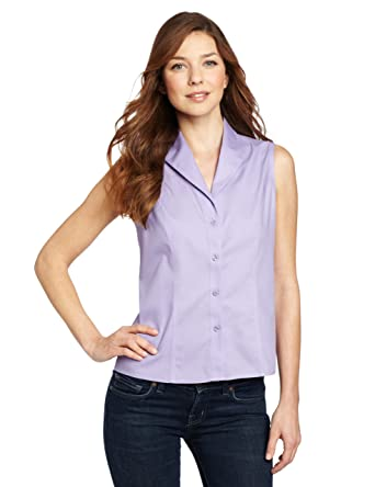 957fc4e87 Jones New York Women's Sleeveless No-Iron Easy Care Shirt, New Lavender, ...