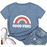 Women's Short Sleeve Summer T-Shirt Good Vibes Graphic Tees Tops Casual Tops Rainbow Funny Vacation T Shirts