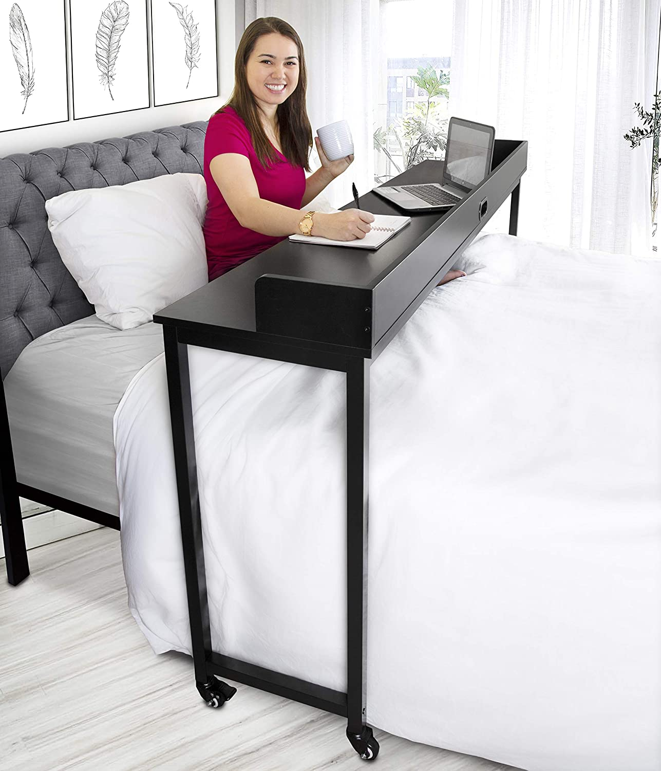 Joy Overbed Table with Wheels - Height Adjustable Rolling Bed Desk for Full/Queen Beds