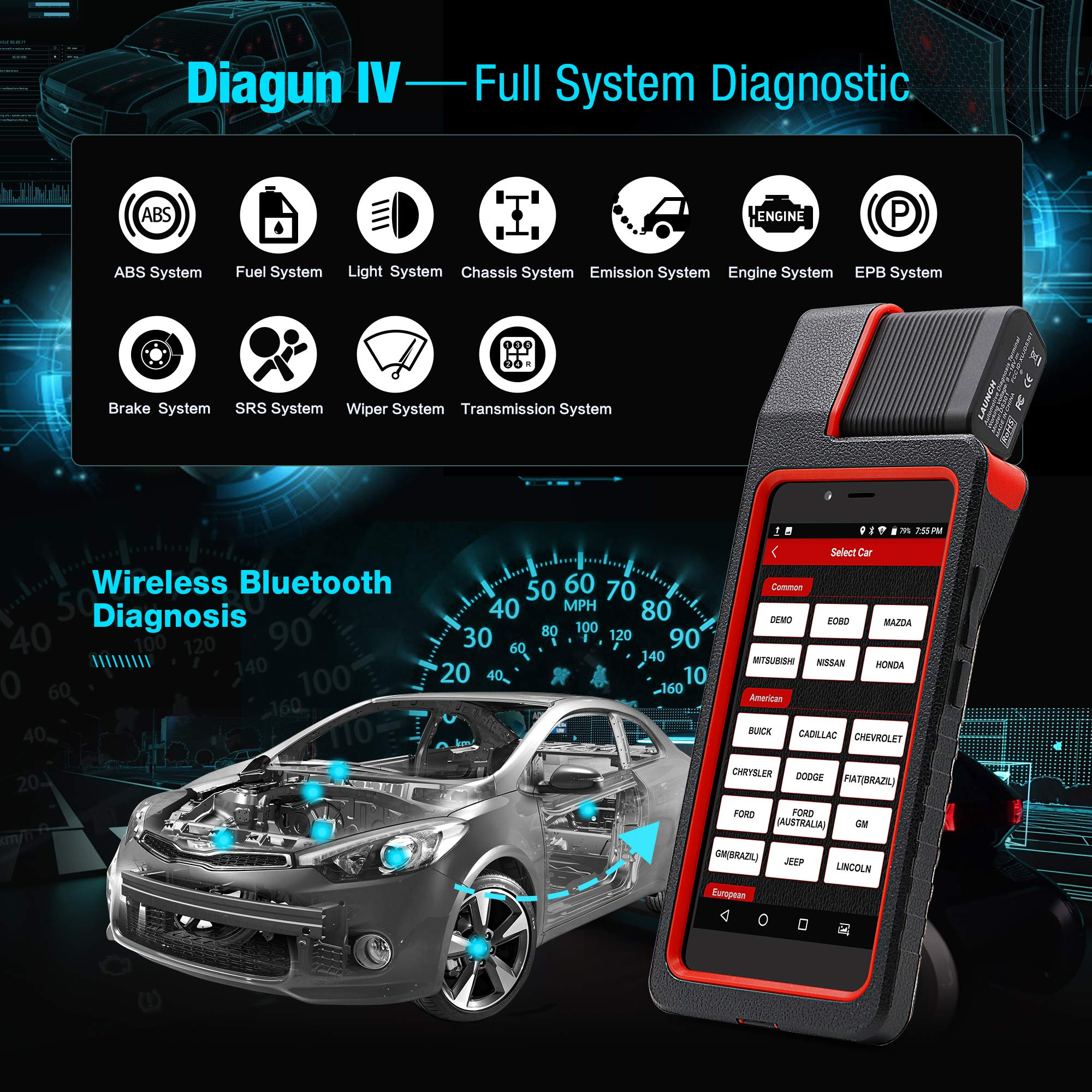 Launch X431 DIAGUN IV Bi-directional Automotive Diagnostic Tool OBD2 Scanner Code Reader with Wifi & Bluetooth Covering 108 Vehicle Makes, 2 Years Free Update by LAUNCH (Image #3)