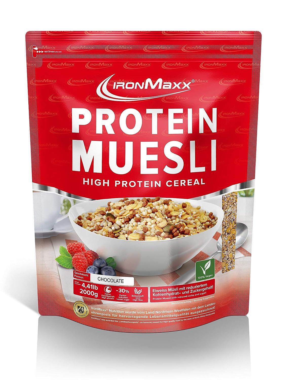 IronMaxx Protein Müsli Schokolade - Veganes Fitness Müsli laktosefrei und glutenfrei - Eiweiß Müsli mit Schokoladengeschmack - 1 x 2 kg