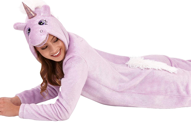 Hausanzug Gr/ö/ße XS-XL Taupe oder Creme Pink Grau Fleece-Einteiler volle L/änge mit Kapuze Bademantel M/ädchen Damen