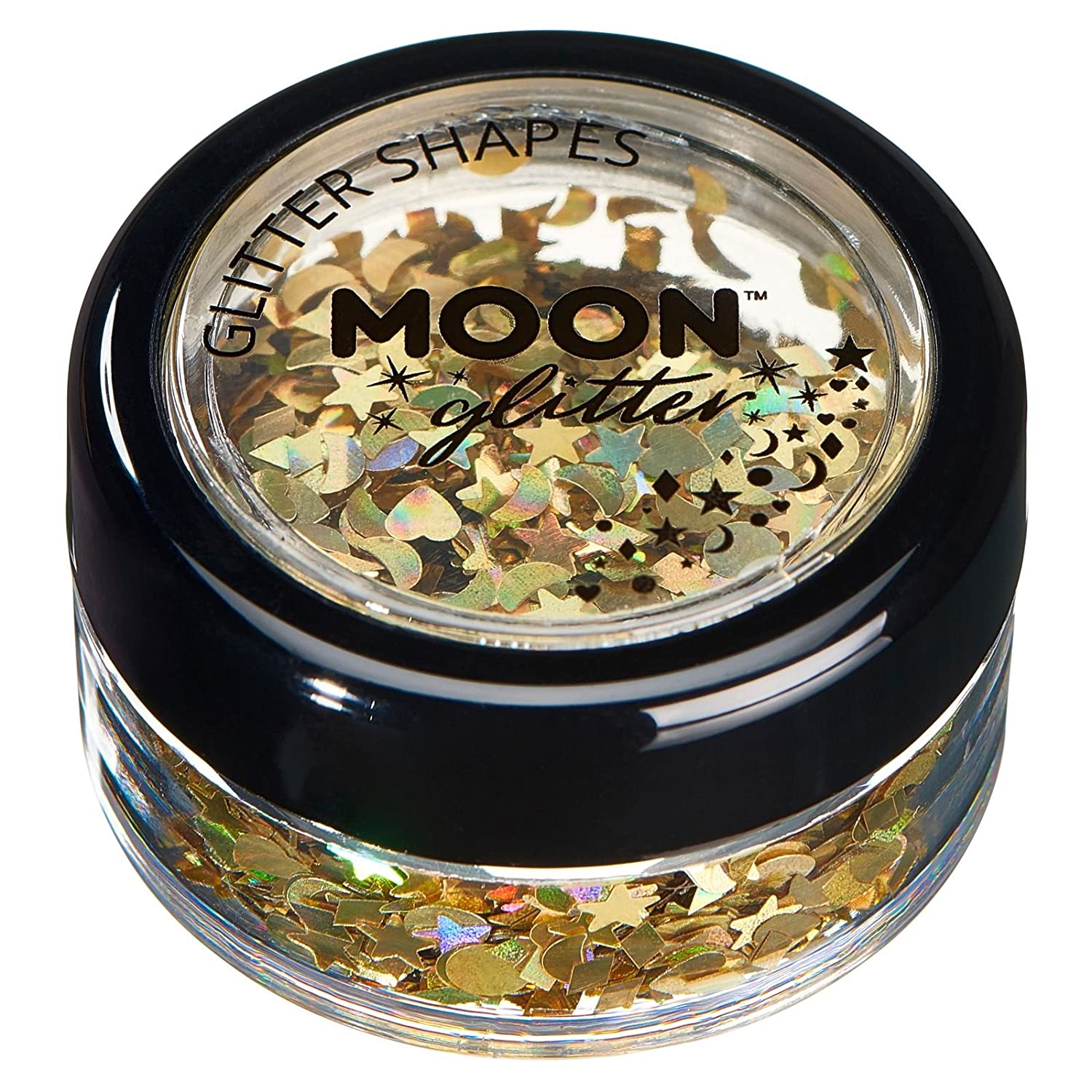 Holographic Glitter Shapes by Moon Glitter – 100% Cosmetic Glitter for Face, Body, Nails, Hair and Lips - 3g - Black