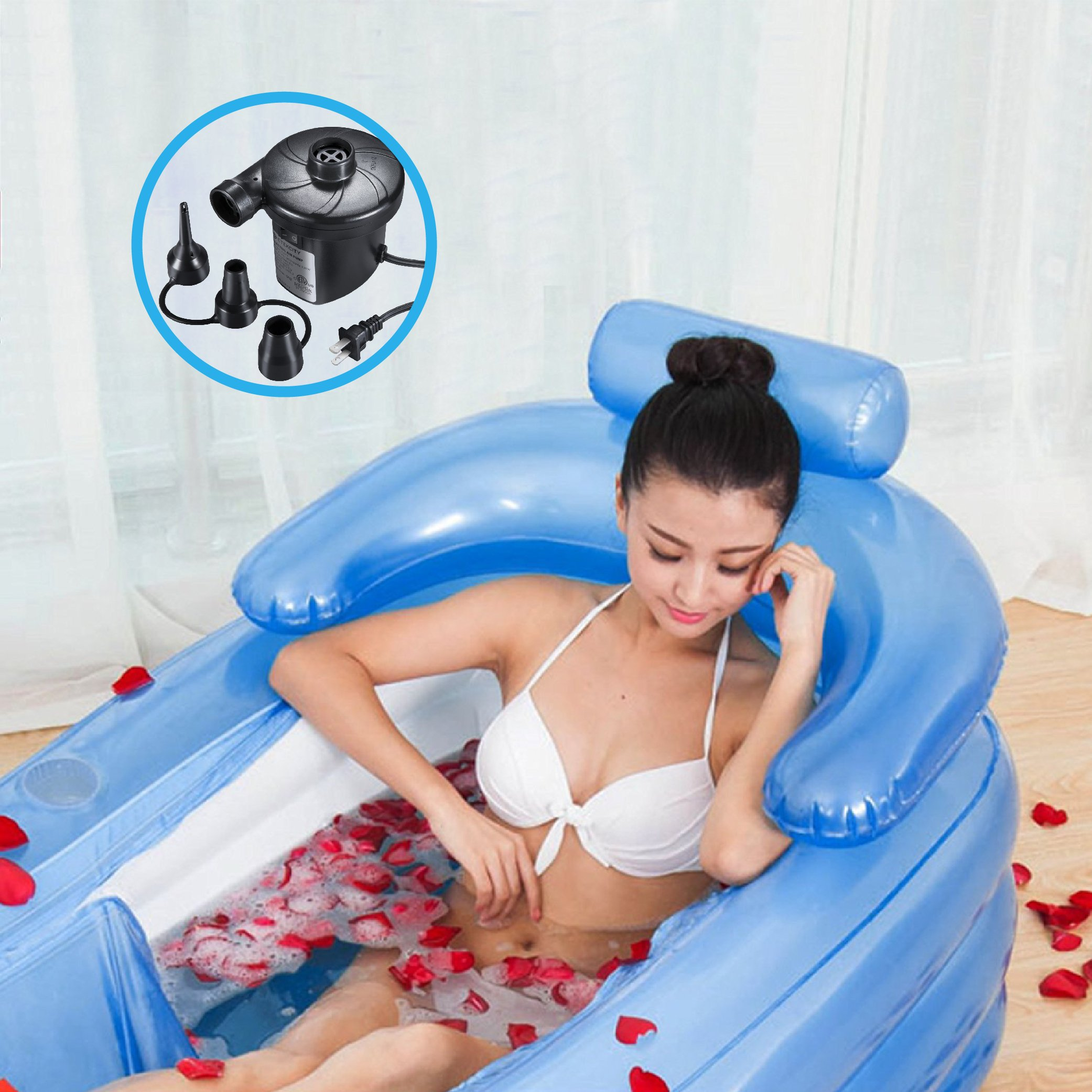 PENSON & CO. COMIN18JU002266 BABAT0038BL Inflatable Bath Tub PVC Portable Adult Bathtub Bathroom SPA with Electric Air Pump