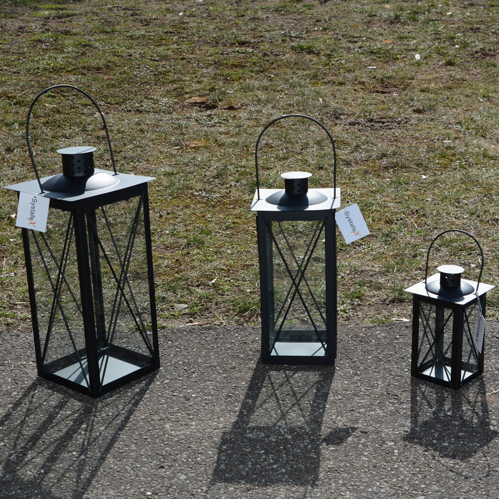Systafex Laterne Gartenlaterne Schwarz Kerzenhalter Gartenlampe 36 cm groß