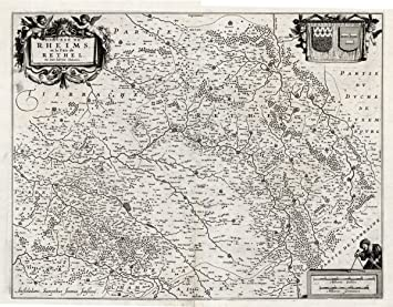 Amazon.com: Antique Map FRANCE RHEIMS REIMS RETHEL Hondius 1633