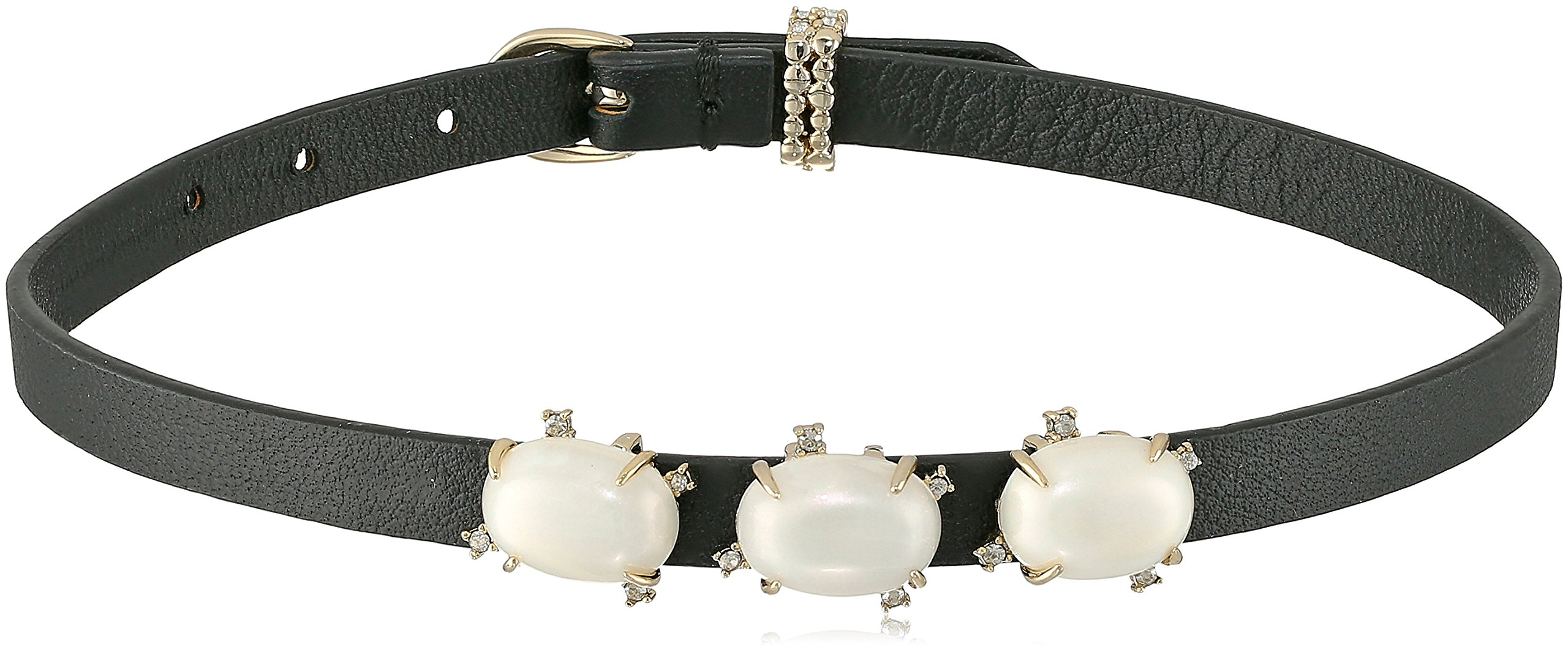 Alexis Bittar Multi Stone Convertible Leather Choker with Crystal Detail Wrap Bracelet