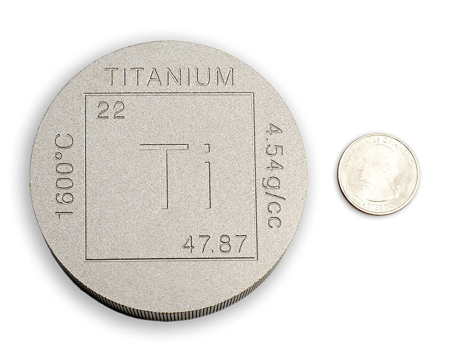 Titanium Bullion Paperweight - 1lb Round 999 Pure Chemistry Element Design by Metallum Gifts