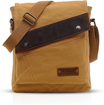 FANDARE Vintage Mensajero Messenger Bag Crossbody Bolso Bandolera Shoulder Bag Estudiante Viaje Trabajo Escuela Bolso Hombre Mujer Lona Caqui
