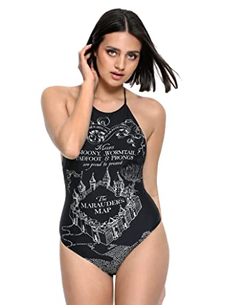 5b578fb8f5e Amazon.com: Harry Potter Marauder's Map Swimsuit Black: Clothing