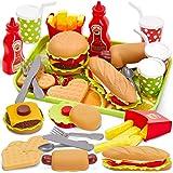 Buyger Cocina Comida Juguete Alimentos Hamburguesas Bandeja Bricolaje Juguetes Cumpleaños Navidad Regalo para Niños 3 4…
