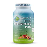Whole Food Multivitamin Plus - Vegan - Daily Multivitamin for Men and Women with Organic Fruits and Vegetables, B-Complex, Probiotics, Enzymes, CoQ10, Omegas, Turmeric, All Natural, 90 Capsules