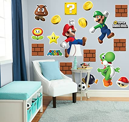 BirthdayExpress Super Mario Bros Room Decor - Giant Wall Decals Combo Kit