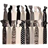 Kenz Laurenz No Crease Elastic Hair Ties, Tribal Black Silver White (Pack of 20)