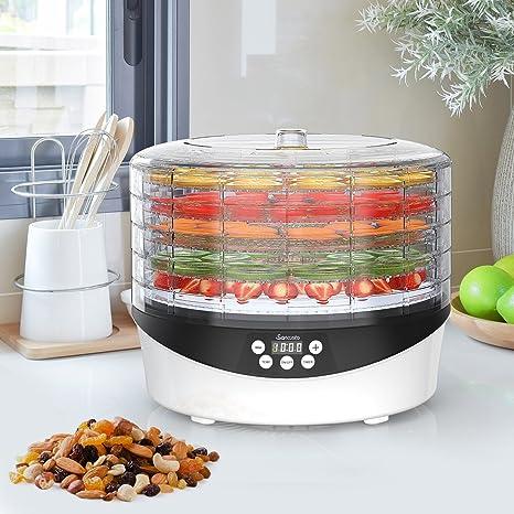 SANCUSTO 708A - Deshidratador de Alimentos,Frutas y Verduras, 5 Bandejas, Temperatura Ajustable