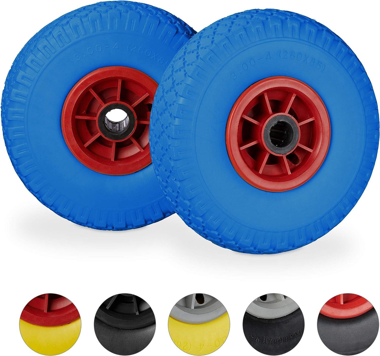 260x85mm jante 25mm set de 2 bleu-rouge brouette caoutchouc 3.00-4 80 kg Relaxdays roue de rechange axe