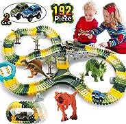 HOMOFY Dinosaur Toys 192Pcs Race Car Flexible Track, Create a Road,3 Dinosaurs,2 Cars Vehicle Playset,Perfect Birthday Toys