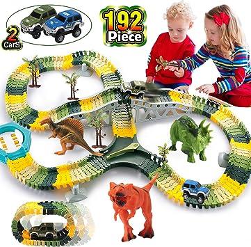 Amazon.com: HOMOFY Dinosaur Toys 192pcs Race Car Flexible ...