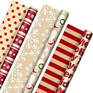 """Hallmark Reversible Christmas Wrapping Paper (3 Rolls: 120 sq. ft. ttl) """"Merry Holidays,"""" Snowflakes, Snowmen, Red Stripes"""