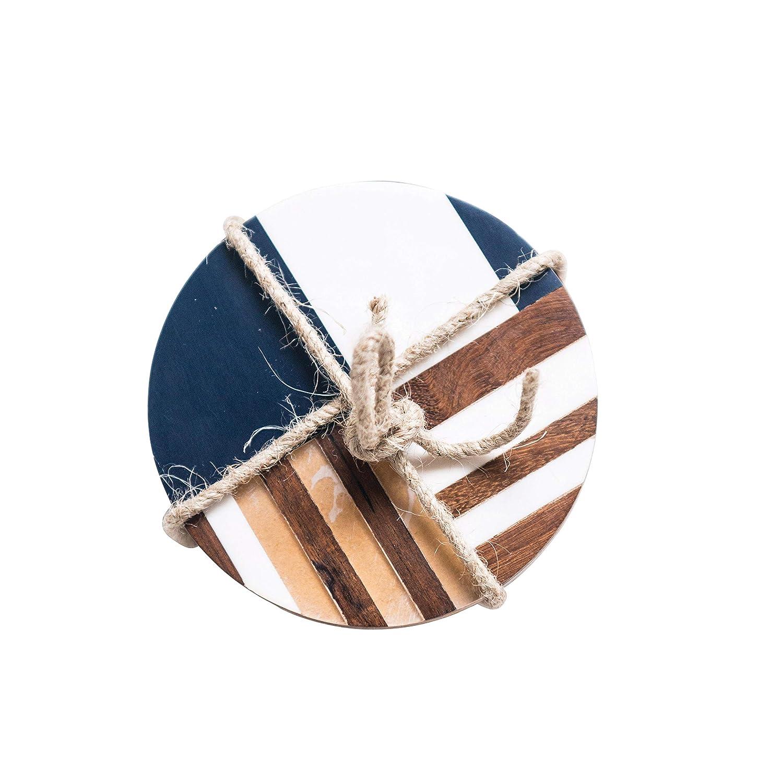 Bloomingville AH0149 Set of 4 Round Resin & Wood Geometric Coasters