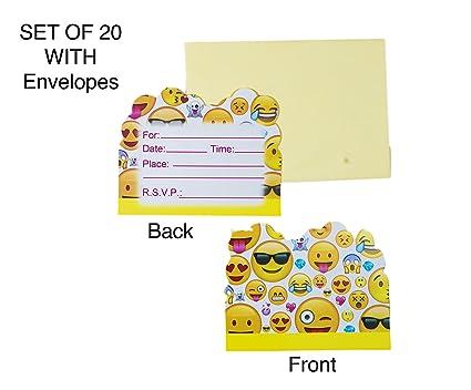 Amazon emoji party invitation card with envelopes set of 20 for emoji party invitation card with envelopes set of 20 for boy girl kid happy birthday supplies stopboris Image collections