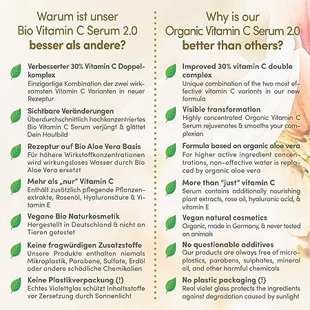 GANADOR 2020* Serum Facial de Vitamina C ORGÁNICO con Acido Hialuronico 50ml - Doble Complejo MEJORADO 30% Vitamina C + E y Aloe Vera - Uso con Crema Hidratante Facial Mujer - Hecho en Alemania