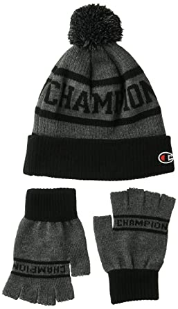 d00abec33 Champion Men's Maverick Pom Beanie & Glove Set, Black/Gray OS