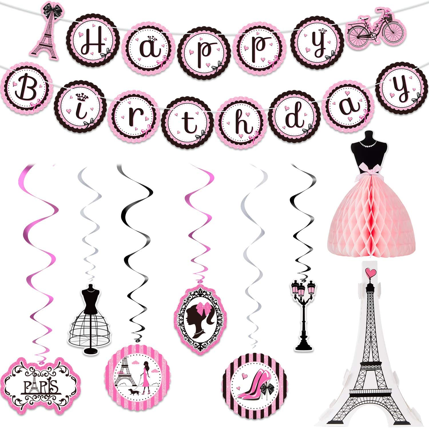 Paris Party Decorations Set, Paris Happy Birthday Banner Dress Honeycomb Centerpiece Eiffel Tower Cutout Paris Hanging Swirl Decoration for Baby Shower Birthday Paris Theme Party Supplies