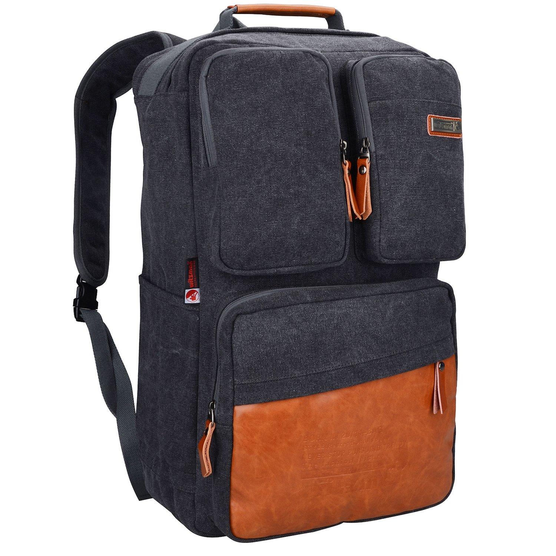 Witzman Men Retro Canvas Backpack Travel Rucksack Casual Duffel Bag 6617 (23 inch, Black)
