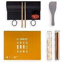 Blumtal Sushi Set, 7 Teile - große, spülmaschinenfeste Silikonmatte, Nigiri Maker, Stäbchen und Reislöffel