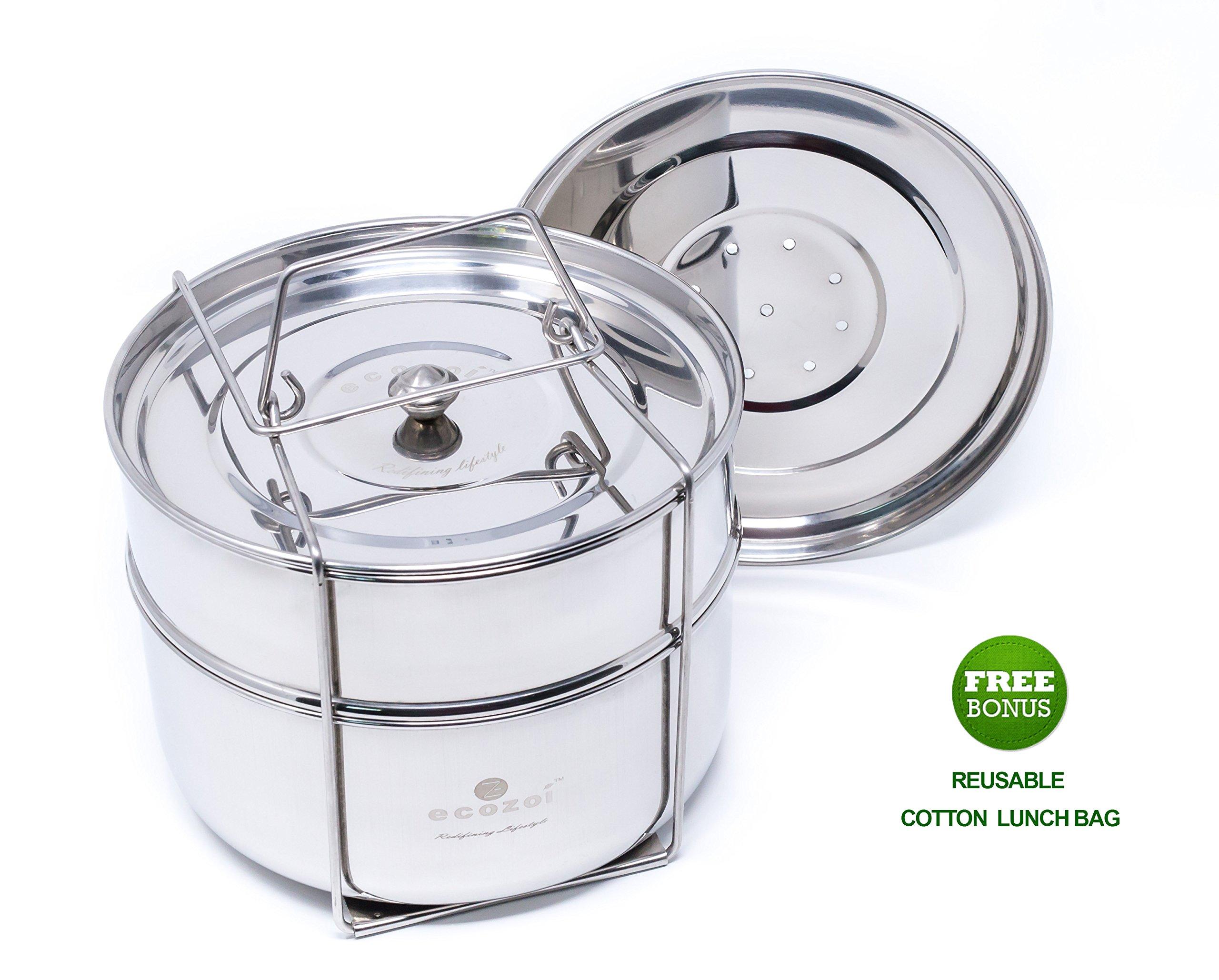 Ecozoi Premium Food Steamer Pot In Pot Insert Pans for 6, 8 Quart Instant Pot Accessories & Pressure Cookers - 2 Tier | Stackable PIP | Extra Deep | Interchangeble Lids + BONUS Reusable Lunch Bag