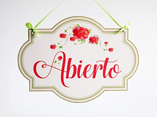 Abierto/Cerrado - letrero de madera colgante de la puerta de la tienda de doble cara (rosa vintage)