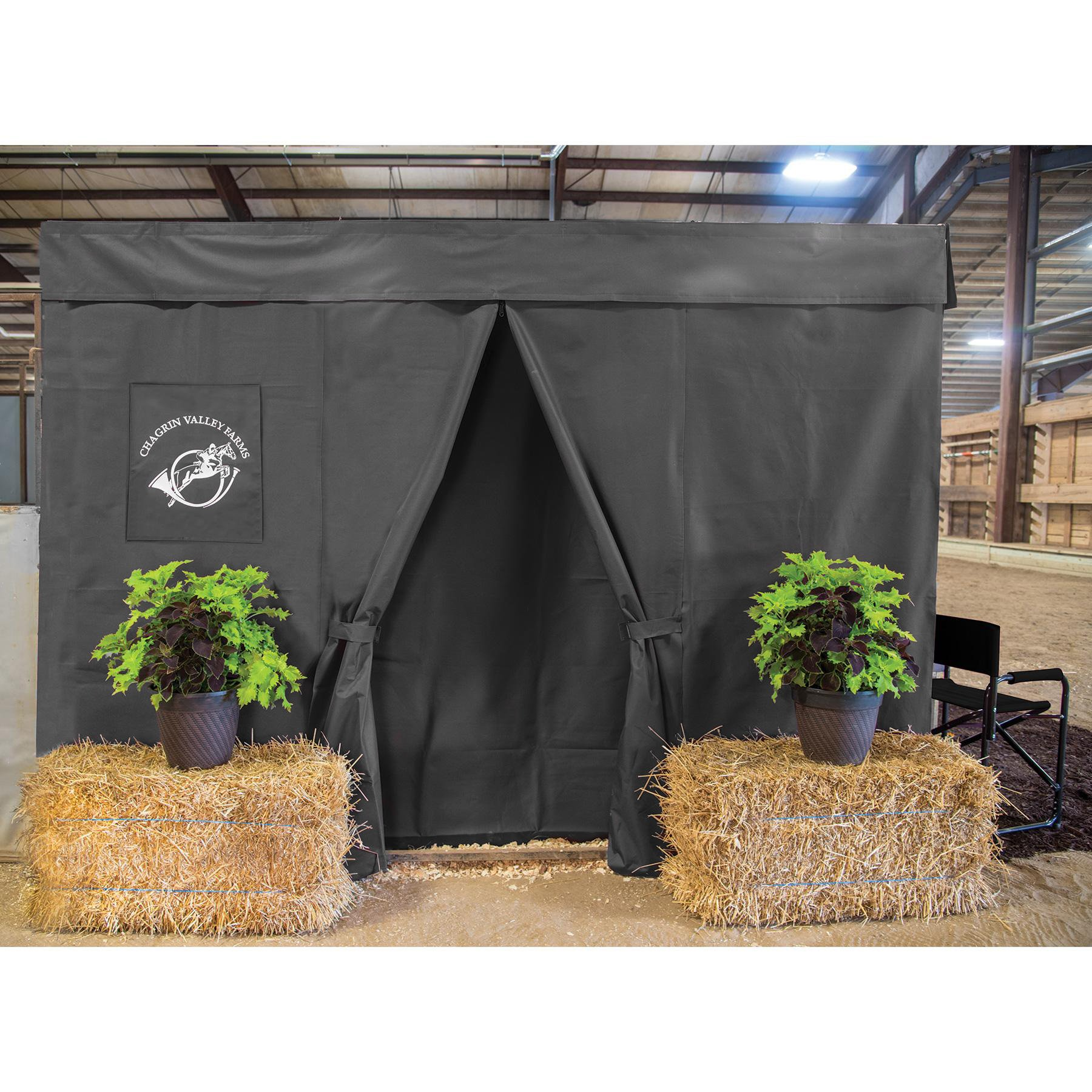 Dura-Tech Six Piece Horse Stall Front Drape Package, Heavy Duty Show Stall, Professional Appearance with Easy Set-Up and Flexible Entry Placement (Black) by Dura-Tech