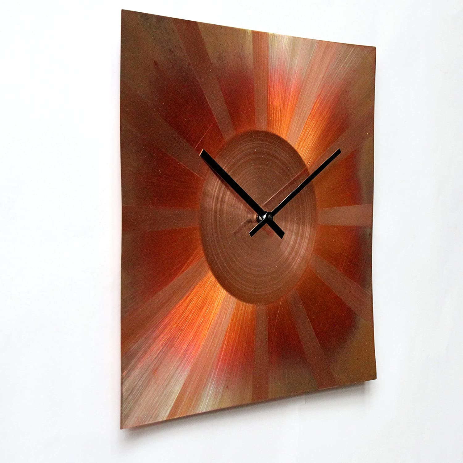 Large Square Copper Wall Clock 16-inch Silent Non Ticking Gift for Home//Office//Kitchen//Bedroom//Living Room